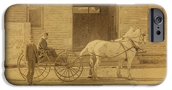 Nineteenth Digital iPhone Cases - 1800s Vintage Photo of Horse Drawn Carriage iPhone Case by Charles Beeler