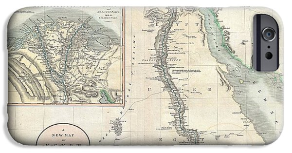 To Dominate iPhone Cases - 1805 Cary Map of Egypt iPhone Case by Paul Fearn