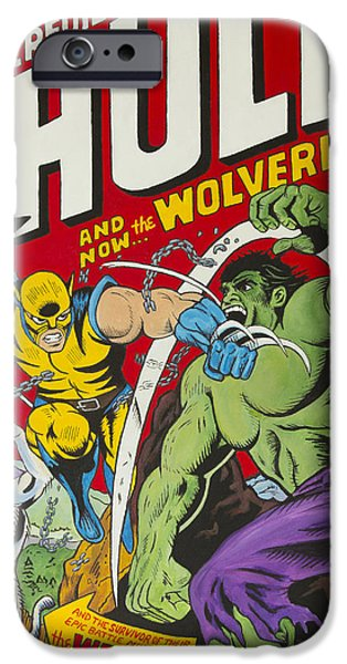 Xmen iPhone Cases - #181 Hulk vs Wolverine iPhone Case by Travis Radcliffe