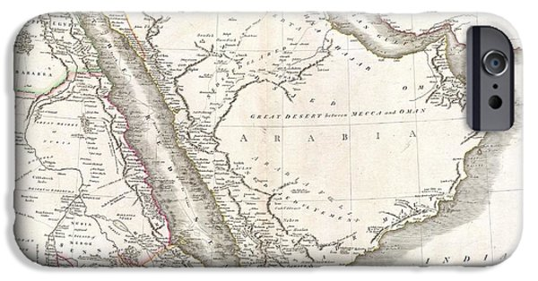 King Of The Persians iPhone Cases - 1811 Cary Map of Arabia Egypt and Abyssinia iPhone Case by Paul Fearn