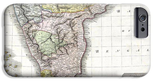 To Dominate iPhone Cases - 1814 Thomson Map of India iPhone Case by Paul Fearn