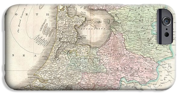 Sand Castles iPhone Cases - 1818 Pinkerton Map of Holland or the Netherlands iPhone Case by Paul Fearn
