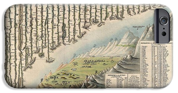 To Dominate iPhone Cases - 1823 Darton and Gardner Comparative Chart of World Mountains and Rivers iPhone Case by Paul Fearn