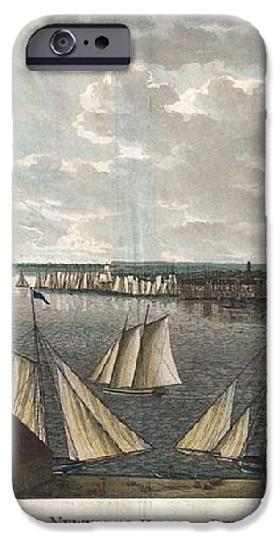 1824 Klinkowstrom View of New York City from Brooklyn  iPhone Case by Paul Fearn