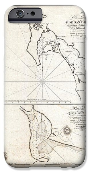 Recently Sold -  - Sheets iPhone Cases - 1825 Victoria Map of San Diego California and San Blas Mexico  iPhone Case by Paul Fearn