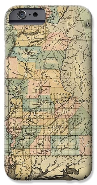 Tuscaloosa iPhone Cases - 1826 Alabama Map iPhone Case by Dan Sproul