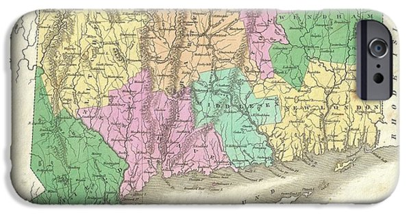 Finds A Way iPhone Cases - 1827 Finley Map of Connecticut iPhone Case by Paul Fearn