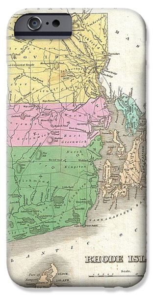 Finds A Way iPhone Cases - 1827 Finley Map of Rhode Island iPhone Case by Paul Fearn