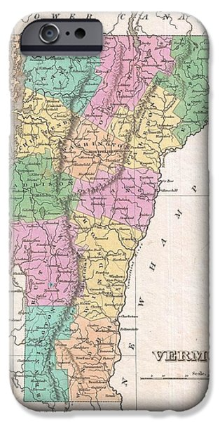 Finds A Way iPhone Cases - 1827 Finley Map of Vermont iPhone Case by Paul Fearn
