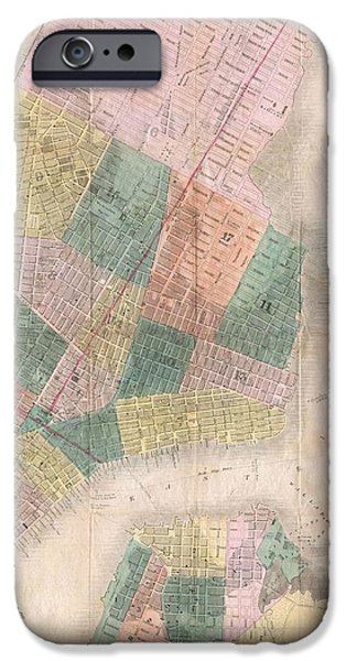 1835 David Burr Map of New York City iPhone Case by Paul Fearn