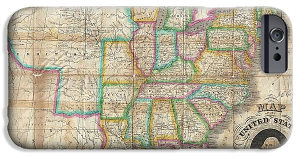 To Dominate iPhone Cases - 1835 Webster Map of the United States iPhone Case by Paul Fearn
