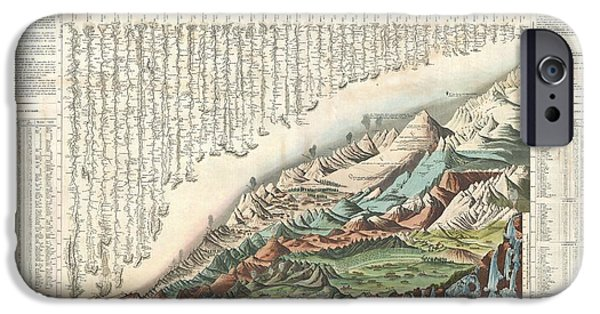 To Dominate iPhone Cases - 1836 Andriveau Goujon Comparative Mountains and Rivers Chart  iPhone Case by Paul Fearn