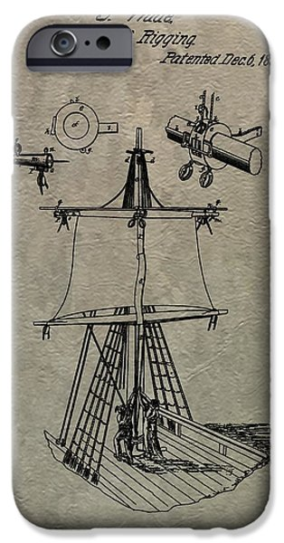 Pirate Ship iPhone Cases - 1836 Sailboat Patent iPhone Case by Dan Sproul