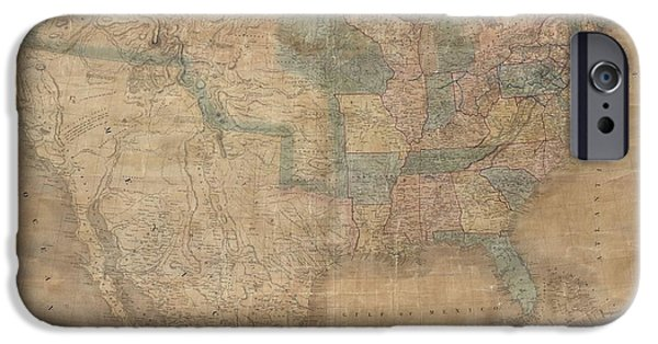 To Dominate iPhone Cases - 1839 Burr Wall Map of the United States  iPhone Case by Paul Fearn