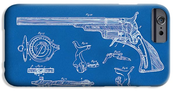 1839 iPhone Cases - 1839 Colt Fire Arm Patent Artwork Blueprint iPhone Case by Nikki Marie Smith
