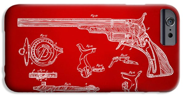 1839 iPhone Cases - 1839 Colt Fire Arm Patent Artwork Red iPhone Case by Nikki Marie Smith