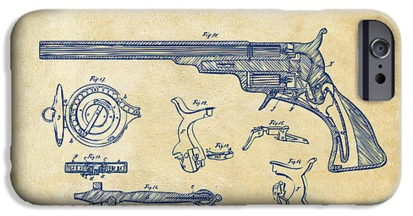 1839 iPhone Cases - 1839 Colt Fire Arm Patent Artwork Vintage iPhone Case by Nikki Marie Smith