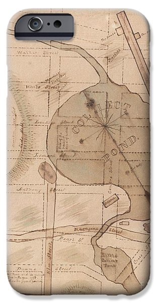 Canal Street Line iPhone Cases - 1840 Manuscript Map of the Collect Pond and Five Points New York City iPhone Case by Paul Fearn