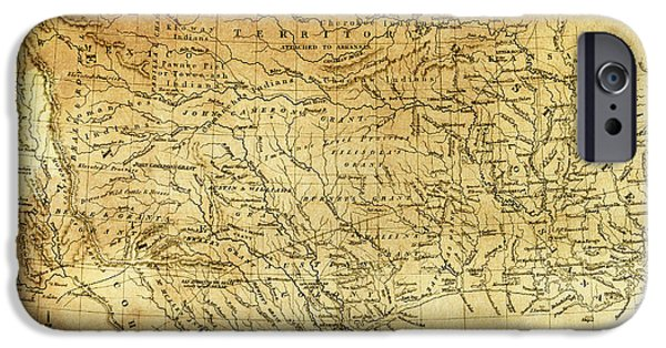 Mess iPhone Cases - 1841 REPUBLIC of TEXAS MAP iPhone Case by Daniel Hagerman