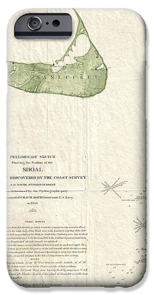 Harsh Conditions iPhone Cases - 1846 US Coast Survey Map of Nantucket  iPhone Case by Paul Fearn