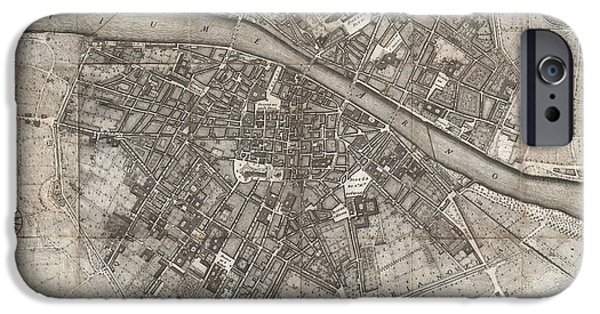 The Duomo In Florence iPhone Cases - 1847 Molini Pocket Map of Florence iPhone Case by Paul Fearn