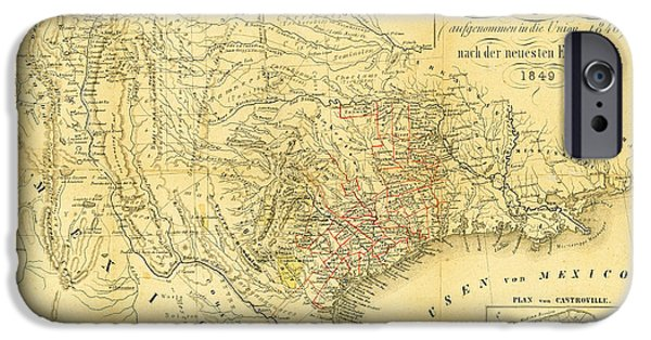 Bill Cannon iPhone Cases - 1849 Texas Map iPhone Case by Digital Reproductions