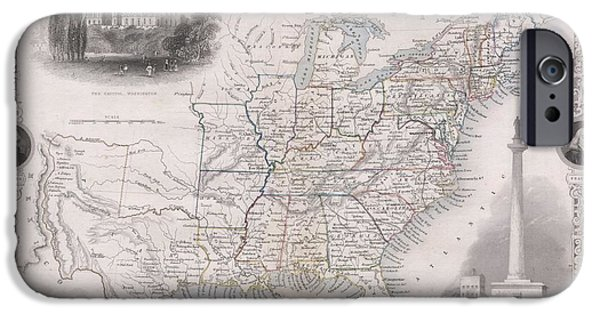 Great Seal Of The United States iPhone Cases - 1850 Tallis Map of the United States iPhone Case by Paul Fearn