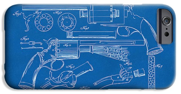 Weapon iPhone Cases - 1856 LeMat Revolver Patent Artwork Blueprint iPhone Case by Nikki Marie Smith