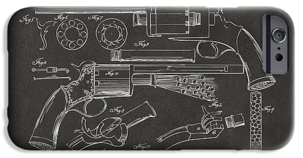 Weapon Digital iPhone Cases - 1856 LeMat Revolver Patent Artwork - Gray iPhone Case by Nikki Marie Smith