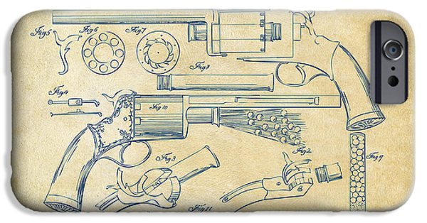 Weapon iPhone Cases - 1856 LeMat Revolver Patent Artwork Vintage iPhone Case by Nikki Marie Smith