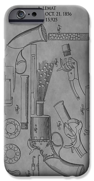 Owner Drawings iPhone Cases - 1856 Revolver Patent iPhone Case by Dan Sproul