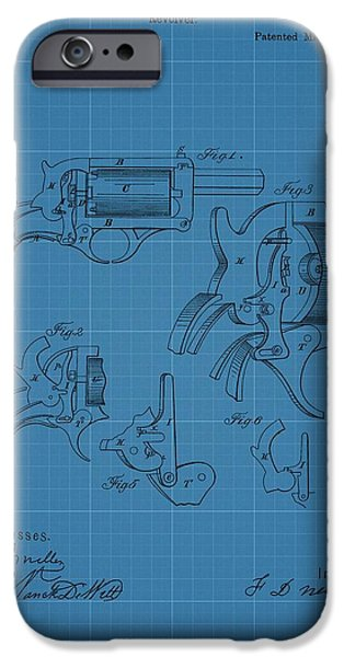 Weapon Drawings iPhone Cases - 1858 Revolver Blueprint Patent iPhone Case by Dan Sproul
