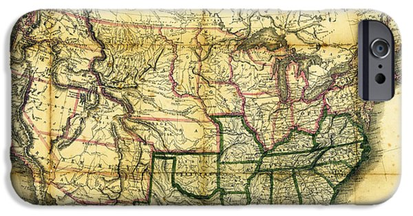 U.s History iPhone Cases - 1861 United States Map iPhone Case by Daniel Hagerman