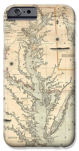 Bay Bridge Mixed Media iPhone Cases - 1862 Chesapeake Bay Map iPhone Case by Dan Sproul