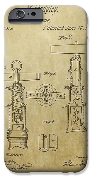 Recently Sold -  - Red Wine iPhone Cases - 1862 Corkscrew Patent iPhone Case by Dan Sproul