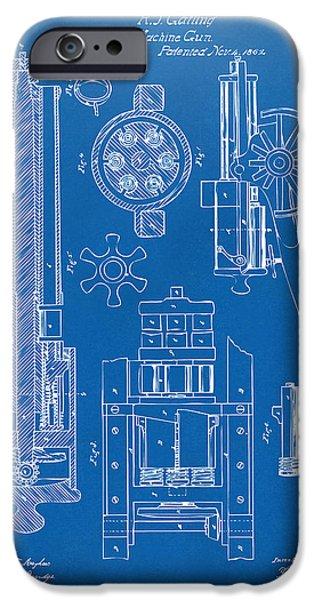 Vetran iPhone Cases - 1862 Gatling Gun Patent Artwork - Blueprint iPhone Case by Nikki Marie Smith
