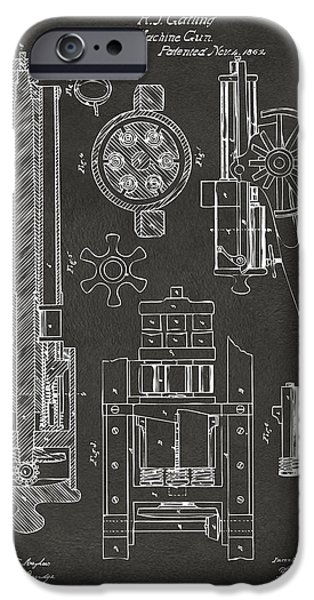 Weapon Digital iPhone Cases - 1862 Gatling Gun Patent Artwork - Gray iPhone Case by Nikki Marie Smith