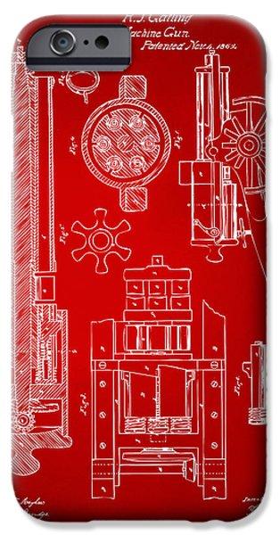 Vetran iPhone Cases - 1862 Gatling Gun Patent Artwork - Red iPhone Case by Nikki Marie Smith