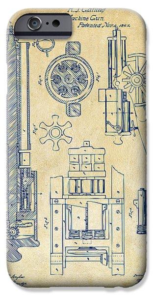 Vetran iPhone Cases - 1862 Gatling Gun Patent Artwork - Vintage iPhone Case by Nikki Marie Smith