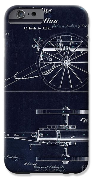 Ww1 Photographs iPhone Cases - 1865 Gatling Battery Gun Patent Drawing Blue iPhone Case by Jon Neidert