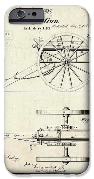 Wwi iPhone Cases - 1865 Gatling Battery Gun Patent Drawing iPhone Case by Jon Neidert