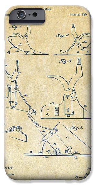 John Deere iPhone Cases - 1865 John Deere Plow Patent Vintage iPhone Case by Nikki Marie Smith