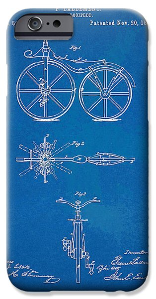 Freedom iPhone Cases - 1866 Velocipede Bicycle Patent Blueprint iPhone Case by Nikki Marie Smith