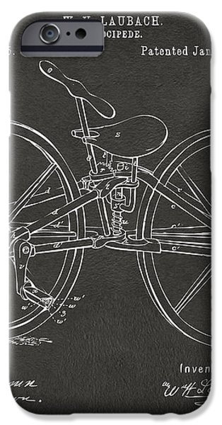1869 Velocipede Bicycle Patent Artwork - Gray iPhone Case by Nikki Marie Smith
