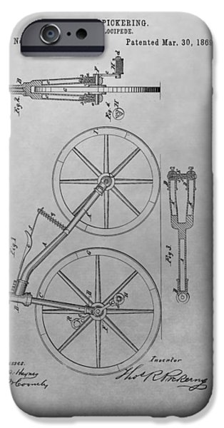 Bicycle Drawings iPhone Cases - 1869 Velocipede Patent Drawing iPhone Case by Dan Sproul