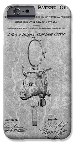 Farmer Drawings iPhone Cases - 1871 Cow Bell Patent iPhone Case by Dan Sproul