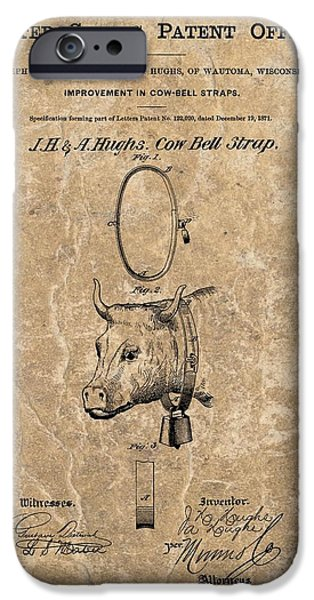 1871 iPhone Cases - 1871 Cow Bell Strap Patent iPhone Case by Dan Sproul