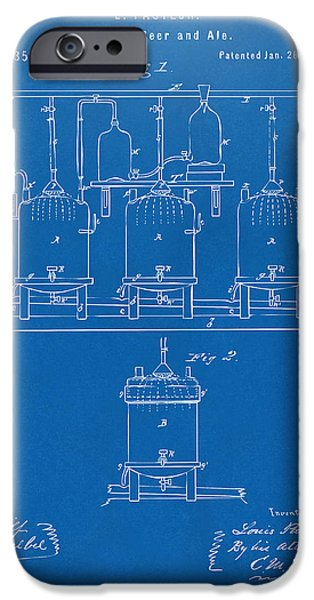 Cave Digital iPhone Cases - 1873 Brewing Beer and Ale Patent Artwork - Blueprint iPhone Case by Nikki Marie Smith