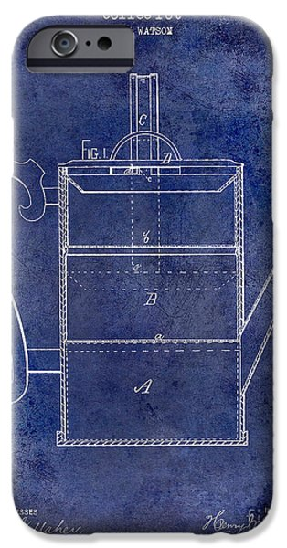 1900 iPhone Cases - 1875 Coffee Pot Patent Drawing Blue iPhone Case by Jon Neidert