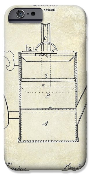 1900 iPhone Cases - 1875 Coffee Pot Patent Drawing iPhone Case by Jon Neidert